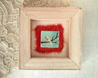 Acrylic Painting Original Miniature Bird Nature Art on Wood Tile  -  Little Bird No. 2