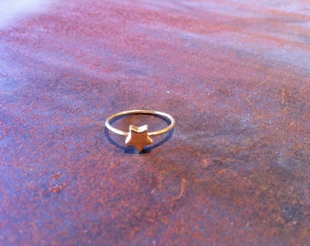 tiny little star pinky ring in gold filled