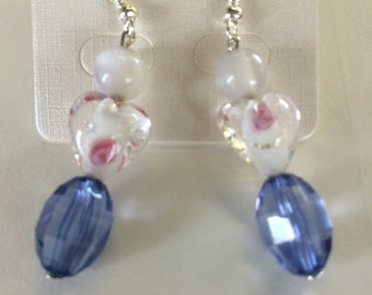 Hand made, Earrings, glass, heart, silver plated, OAKK  Sarah Baubles