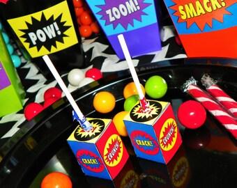 Superhero Lollipop Birthday Party Favors. Superhero Party Lollipop Favor Decorations. Comic Book Treat Favors. Superhero Party Action Words