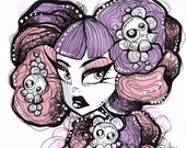 Pink and Purple Haired Pastel Goth original ink illustration