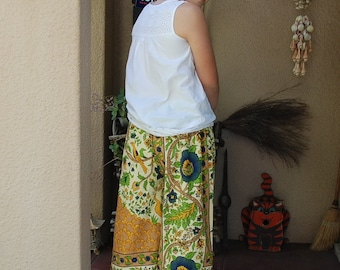 "Hippie Pants Harem- Saffron Green Tree of Life -33 1/2"" long - Hips 48""- fits most - read measurements"