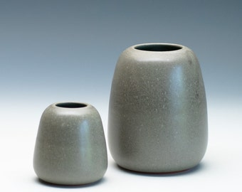 Tan Grey Small Vase / Ceramic Vessel