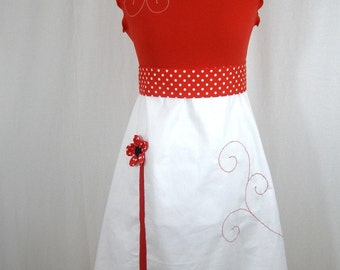 Chihiro dress red and white and embossed flowers