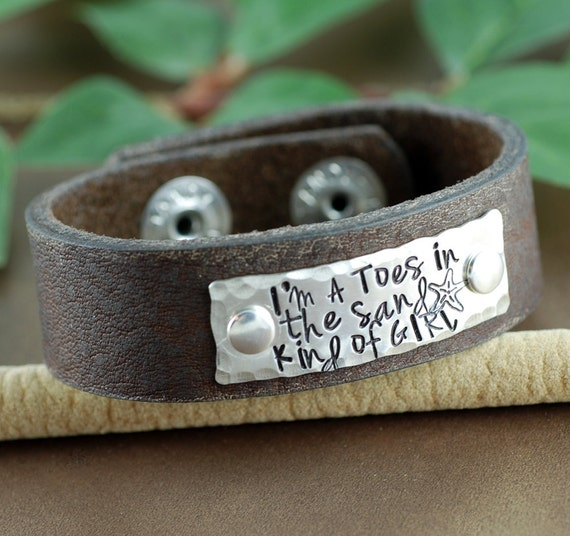 Toes in the Sand kind of Girl Leather Bracelet, Personalized Leather Cuff Bracelet, Beach Cuff, Beach Girl Bracelet, Vacation Jewelry
