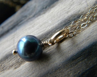 Iridescent blue black cultured pearl necklace - 14k gold filled handmade jewelry - June birthstone