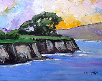 Impressionist Painting California Plein Air Landscape Seascape MONTEREY BAY Pacific Ocean Cliffs Lynne French 11x14
