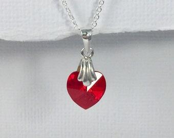 Flower Girl Gift Necklace, Swarovski Red Heart Necklace, Red Heart Necklace, Flower Girl Necklace, Red Wedding Necklace, Red Necklace