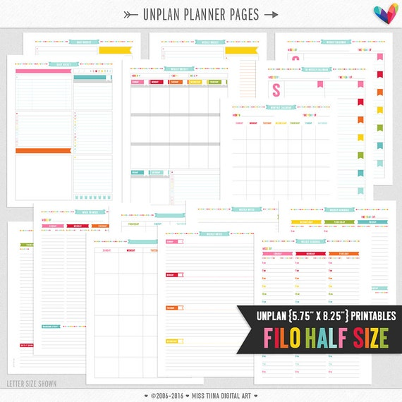 """FH • UNplan Planner Page Printables PDF - 5.75"""" x 8.25"""" A5 Filofax Half Size Page Inserts - daily docket, weekly docket, undated calendars"""