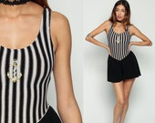 80s Swimsuit Striped One Piece METALLIC Anchor Retro Bathing Suit SHORTS Nautical Low Back Swim Suit Black White Vintage Small