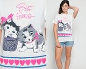 Cat Shirt Kitten Tshirt BEST FRIENDS Animal Top 80s Graphic Heart Thin Retro Tee Burnout 1980s Vintage Hot Pink Kawaii T Shirt Medium