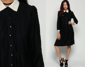 Peter Pan Collar Dress 80s Mini Gothic Wednesday Addams Goth Black White Long Puff Sleeve 1980s Vintage 70s Button Up Maid Medium Large