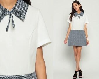 60s Mini Dress Mod Checkered Print High Waisted Black White Collar 70s Vintage Short Sleeve 1960s Minidress School Girl Lolita Large xl