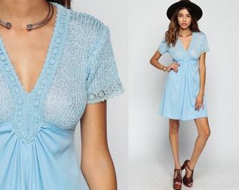 Babydoll Dress 60s Mod Mini 70s Boho CROCHET LACE 1970s Deep V Neck Vintage Empire Waist Bohemian Knit Baby Blue Short Sleeve Small Medium