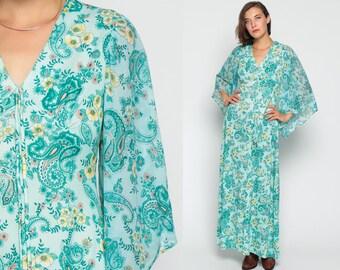 Angel Sleeve Dress 70s Bohemian Maxi Empire Waist PAISLEY Festival Floral Print Bell Sleeve 1970s Hippie Boho Deep V Neck Vintage Medium