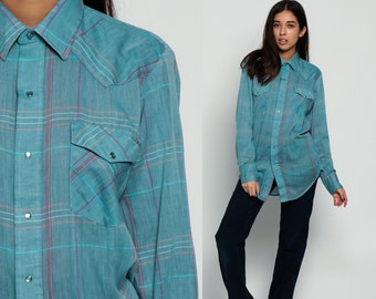 Pearl Snap Shirt Western 80s Plaid Blue Flannel Shirt Grunge Oversize 1980s Button Down up Vintage Long Sleeve Hipster Medium Large