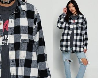 Black Flannel Shirt Buffalo Plaid Shirt 90s Grunge Long Sleeve Button Up White 1990s Oversized Lumberjack Vintage Pocket 80s Extra Large xl