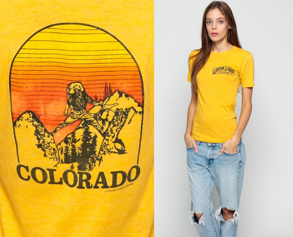 Brand-new 80s T Shirt COLORADO HIKING Top Retro Tee Estes Park Sunset ON64
