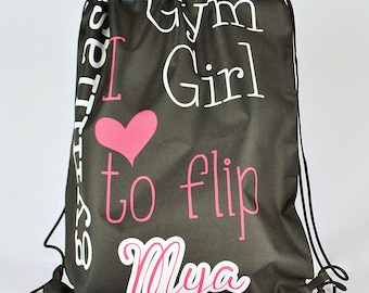 Personalized Drawstring Backpack, Gymnastics Bag