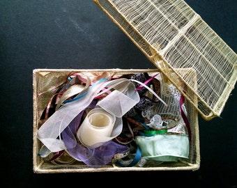 Vintage Woven Basket Ribbon Fabric Trim Needlecraft Embellishments