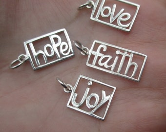 Sterling Silver Love Charm(one)Faith, or Hope