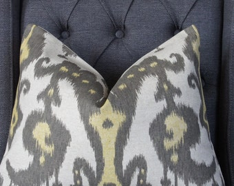 Yellow and Gray Pillow Cover, Decorative Pillow, Throw Pillow, Toss Pillow, Ikat Pillow, Gray Ikat, Yellow Ikat, Home Furnishing, Home Decor
