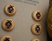 6 Ladybug Red Cedar Buttons- Reclaimed Western Red Cedar Wood- Handmade Wooden Buttons- Eco Craft Supplies- Knitting Supplies