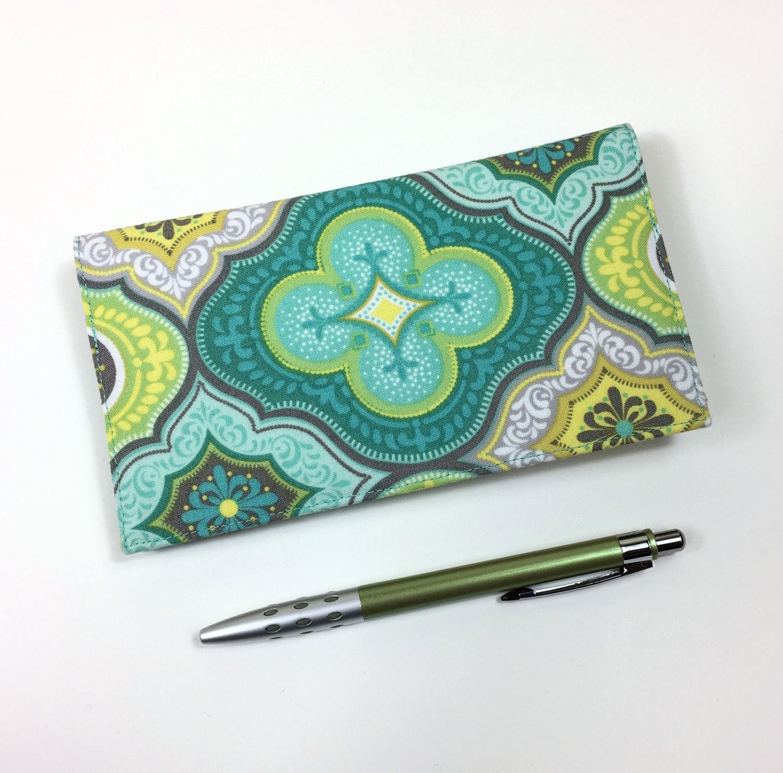 Fabric Checkbook Cover ~ Fabric checkbook cover with pen holder for duplicate checks