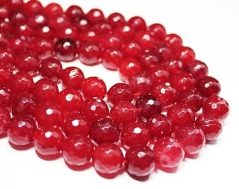 """7"""" Gemstone STRAND - Jade Beads - 12mm Faceted Rounds - Deep Cherry Red (7"""" strand - 15 beads) - str1135"""