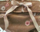 Dog Diapers Britches or Panties Ultra Soft Stretch Brown Embroidered Flower Corduroy with Gingham Ribbon