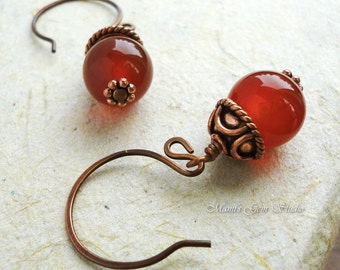 Red Stone Copper Earrings, Carnelian Gemstone, Antiqued Genuine Copper, Handmade