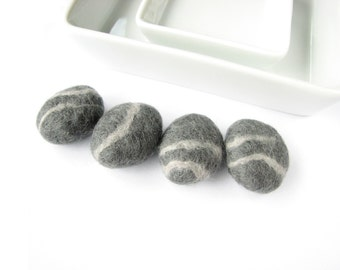 SALE Felted wool stones / pebbles. Natural felted stones, needle felted wool set stones,  table home decor,