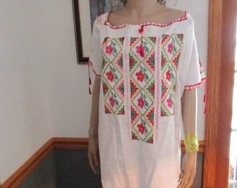 Womens  White Cotton Embroidered Vintage Womens Shirt / Dress