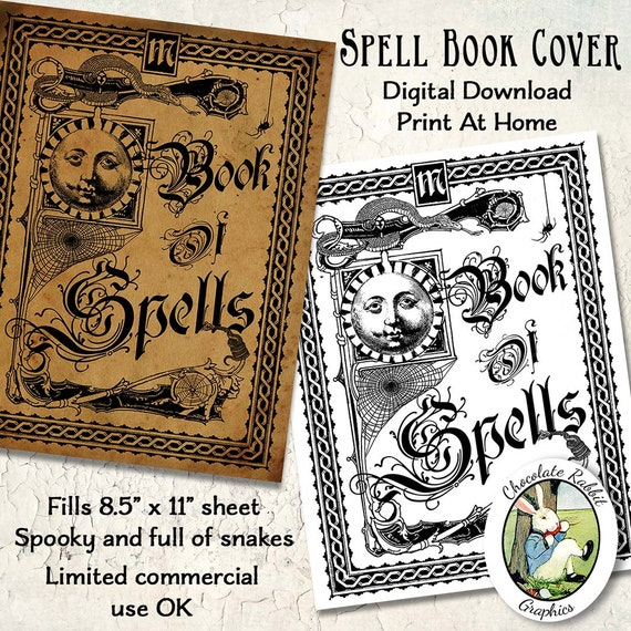 Vintage Style Book Cover : Witch spell book cover halloween vintage style digital
