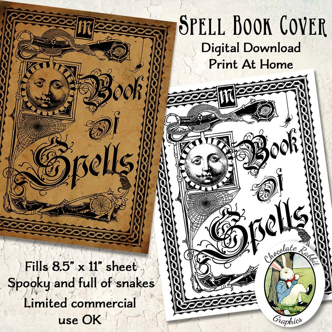 Spell Book Cover Printable ~ Witch spell book cover halloween vintage style digital