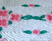 Cabbage Rose Pink Tonal Floral Fluffy Plush Vintage Chenille Bedspread 25 x 33 Inches