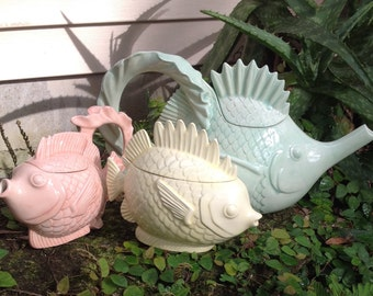 Tea set, ceramic, fish, tropical, pastel, tea pot, sugar, creamer, green, pink, yellow