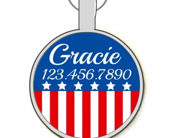 Red, White and Blue Custom Personalized Dog ID Pet Tag Custom Pet Tag You Choose Tag Size & Colors