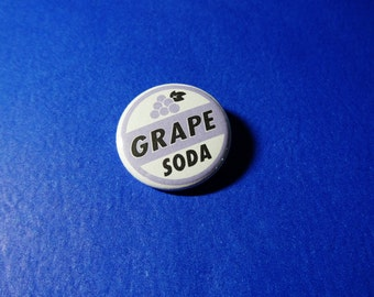 Grape Soda Bottle Cap Pinback Button (or Magnet)