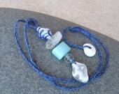 Playful jewelry in blue green white - Porcelain bead, Chrysoprase, Agate,  Quartz - one of a kind jewelry handmade in Australia