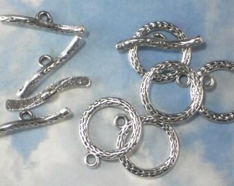 BuLK 30 Clasps Antiqued Silver Tone Textured Round Toggle & Bar Set (P1890 -30)