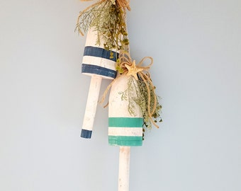Beach Decor Buoy, Nautical Decor Buoy, Painted Buoy, Lobster Buoy, Wood Buoy w Starfish in Blue or Green, Coastal Decor, Beach House Decor