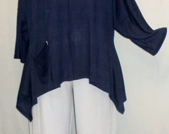 Coco and Juan Lagenlook Plus Size Top Navy Rayon Knit Angled Tunic Top One Size Bust  to 60 inches