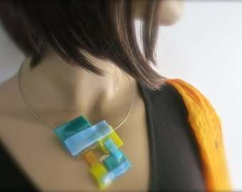 Hand Made Fused Glass Choker Necklace, Blue, Yellow, Asymetrical, Geometric, Contemporary
