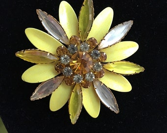 Vintage Large Yellow Enamel Rhinestone Spring Flower Pin