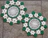 Vintage Crochet Rose Doily White Green Leaves 3D Flowers Set of Two