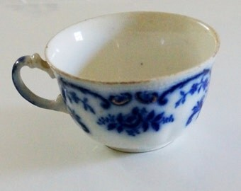 Vintage Flow Blue Cup Tea Cup Portman Pattern Cobalt Blue White W H Grindley Staffordshire Pottery 1890s