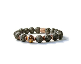 Essential Oil Diffuser Bracelet, Natural Lava Stones & Tiger's Eye, Aromatherapy Jewelry