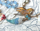 mermaid necklace rosary nautical beach shore recycle