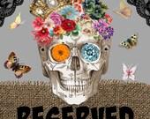 SOLD..skull sequin earrings assemblage day dead flower cross